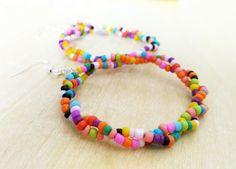 Rainbow Seed Bead Dangle Earrings,Multi-coloured Earrings,Rainbow Hoop Earrings,Long Dangle Earrings,Twisted Earrings,Fashion Earrings by Minimice29 on Etsy