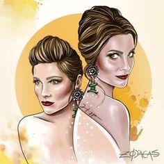 ZODIACA DE GÊMEOS - Ilustra inspirada na beleza brasileira de Flávia Alessandra #zodiacas #higgocabral -atrizbrasileira #geminiana
