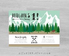 """Woodland mountain lumberjack first birthday party by oliveINK feat @mollyjacques lettering """"brushy"""""""