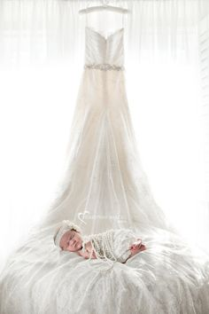 Newborn baby girl with Mom's wedding dress - Heartprint Images - Orange County, California custom maternity and newborn photography