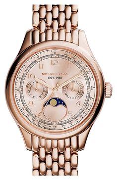 MICHAEL Michael Kors Michael Kors 'Amelia' Moon Phase Bracelet Watch, (Nordstrom Exclusive) available at Mk Handbags, Handbags Michael Kors, Michael Kors Bag, Outlet Michael Kors, Michael Kors Watch, Handbag Stores, Mk Bags, Fashion Watches, Amelia