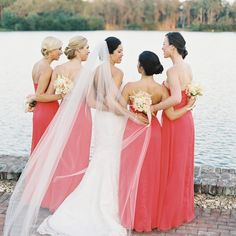 Peach, Lela Rose bridesmaid dresses // Virgil Bunao Photography // Bridesmaid Looks: Bella Bridesmaid // http://www.theknot.com/weddings/album/a-nautical-cheer-wedding-in-st-simons-island-133531