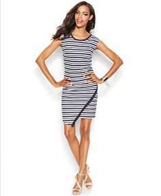 INC International Concepts Striped Asymmetrical-Hem T-Shirt Dress