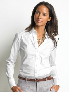 the classic white shirt for women with jeans | the french cuff shirt this is the classic button down fitted and with ...