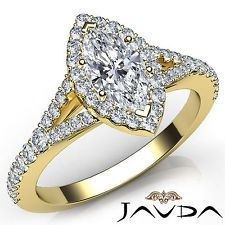 Natural Marquise Diamond Halo Pave Engagement Ring GIA F VS2 18k Yellow Gold 1Ct