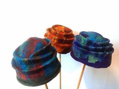 Wet felted hats by artist Robbin Firth