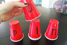 Guided reading idea for kindergarten and 1st grade...Working on blending and phoneme replacement! Red solo cups to the rescue.