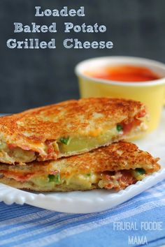 Loaded Baked Potato Grilled Cheese- two of your favorite comfort foods meet in this in this wonderfully cheesy sandwich