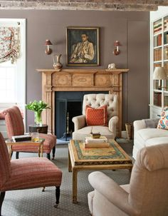 taupe walls + coral and turquoise (Sallie Giordano, George Washington Slept Here | Traditional Home)