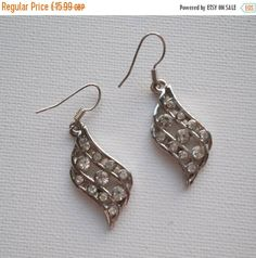 Summer Reductions Vintage 1980s Hanging Diamante Earrings Perfect for Weddings by vintageretrojewels on Etsy