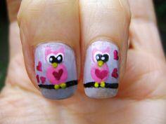 Buhos Enamorados Diseño de Uñas, ideal para San Valentín.. dia del Amor y la amistad. Maikita1707