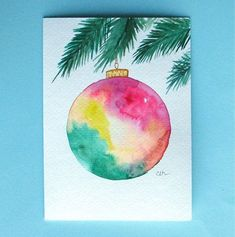 Discover recipes, home ideas, style inspiration and other ideas to try. Painted Christmas Cards, Watercolor Christmas Cards, Christmas Drawing, Diy Christmas Cards, Christmas Paintings, Xmas Cards, Christmas Art, Christmas Ornament, Kids Watercolor