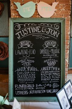 chalk board display of bridal party // photo by Jillian Zamora