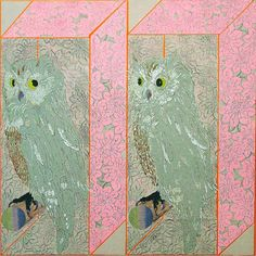 """Chie Fueki, Owl, 24"""" by 24"""" acrylic, mixed media, paper/wood 2003"""