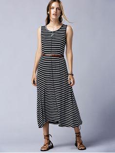 Striped Casual Round Neck Sleeveless Maxi Dress - BLACK M