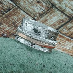 Spinning Rings Fiddle Band, Antique Look, Sterling Silver, White & Rose Gold Plated, BS012A