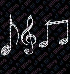 Hotfix DIY Diamante Musical Notes Transfer Bling | eBay