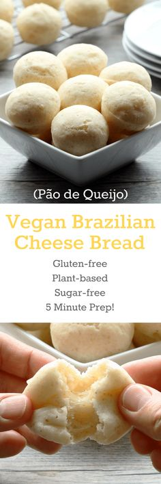 """Vegan Brazilian Cheese Bread, better known as Pão de Queijo! These light and fluffy gluten-free balls of """"cheesy"""" bread goodness will be at your fingertips in 20 minutes with only 5 minutes of prep. Gf Recipes, Gluten Free Recipes, Whole Food Recipes, Vegetarian Recipes, Cooking Recipes, Vegan Recipes With Yeast, Snacks Recipes, Health Recipes, Juice Recipes"""