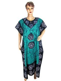 Bohemian Resort Wear Turquiose Blue Ethnic Batik Printed Cotton Kaftan Caftans Patio Wear for Womens Mogulinterior, http://www.amazon.com/gp/product/B0095EIO14/ref=cm_sw_r_pi_alp_.A1rqb04WFHZY