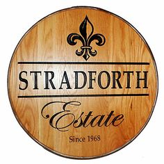 Personalized Reclaimed Wine Barrel Head with Estate and Fleur de Lis at Wine Enthusiast - $349.00