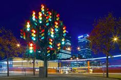 The Traffic Light Tree is a sculpture by French artist Pierre Vivant. It originally sat on a roundabout closer to Canary Wharf but was moved in 2014 to this location outside Billingsgate Market. Photo: Kenny McCartney