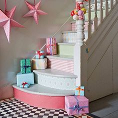 Varied wallpaper designs to brighten up a staircase
