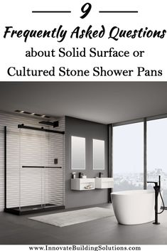 9 FAQ's about Solid Surface or Cultured Stone Shower Pans 9 FAQ Solid Surface Cultured Stone Custom Granite Shower, Glass Block Shower, Glass Floor, Glass Tiles, Marble Showers, Glass Showers, Bathroom Showers, Bathroom Vanities, Small Bathroom