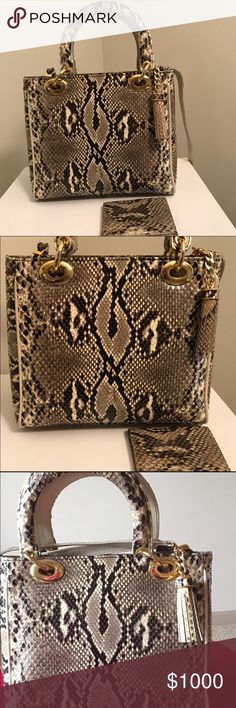 """Python • Made in Italy • One Of A Kind """"Luxury Item"""" #AUTHENTIC #Python wallet #GWP. Brown suede lined interior. Shown. #Handcrafted by expert craftsman to designers. AND purchased at exclusive boutique in #Italy. 9W x 8H x 4.5D. Top Handle drop 5"""". One back zip pocket. One inside zip pocket. Detachable Strap. Zip closure has tassel. Gold Tone accents. This precision technique is only found in high quality hand stitched exotic skin leather. NWOT. Comes with dustbag. New pictures with…"""