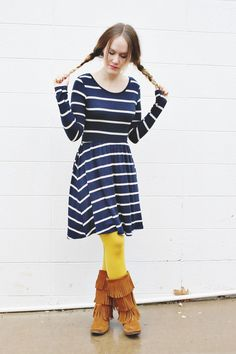 Navy/White Striped Dress, Yellow Tights, and Minnetonka Fringe Boots Yellow Tights, Colored Tights, Striped Dress, Striped Knit, Comfy Dresses, Stripes Fashion, Cute Skirts, Unique Dresses, Knit Dress
