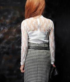 Lace Shoulder & Sleeved Basic Work Shirt