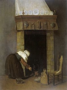 Vrel Jacobus - woman near the fireplace, 1654-1662
