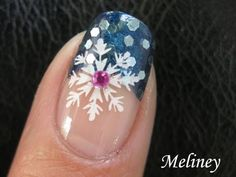 Winter Nail Art - Snow flake Sprinkle Nail Tutorial Konad Stamping nail Art Design A39