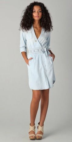 DIANE VON FURSTENBERG DVF CURRENT/ELLIOT  Denim Wrap Dress  #DVF #WrapDress