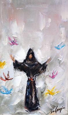 "DeGrazia's ""The Lord Gave Me Brothers"" Saint Francis of Assisi. These paintings were done in 1966 for a book on Saint Francis that was never completed. Catholic Art, Catholic Saints, Patron Saints, Religious Art, Francis Of Assisi, St Francis, St Clare's, Christian Art, San Francisco"