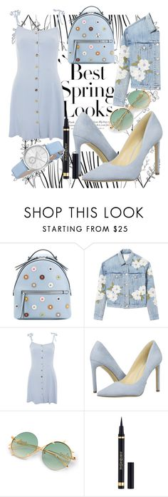 """""""light blue"""" by fleurduval ❤ liked on Polyvore featuring Fendi, H&M, Rebecca Taylor, Topshop, Nine West, Yves Saint Laurent and Michael Kors"""
