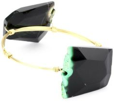 """Susan Hanover """"Earthly"""" Double Stone Green Agate Bangle Bracelet Susan Hanover Designs. $39.99. Made in United States. Hand-made. Stones may vary slightly. gold tone"""