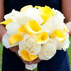Bridesmaid's Bouquet: White Roses + Yellow Calla Lilies