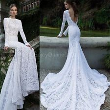 Lady Lace Sexy Backless Maxi Fishtail Dress Women Asymmetric Prom Evening EOD
