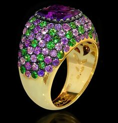 Mousson Atelier Riviera Ring made of Gold 750 features Amethyst 3.09ct with 4.03ct Purple Sapphire and 1.65ct Tsavorite; 11.10g total weight