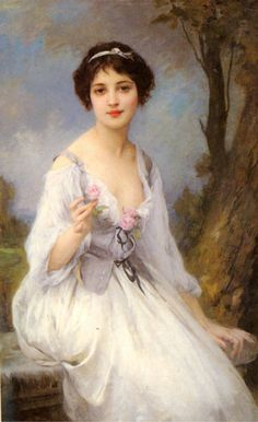 The Pink Rose realistic girl portraits Charles Amable Lenoir art for sale at Toperfect gallery. Buy the The Pink Rose realistic girl portraits Charles Amable Lenoir oil painting in Factory Price. Classic Paintings, Beautiful Paintings, Woman Painting, Painting & Drawing, Artist Painting, Art Amour, Images Vintage, Classical Art, Renaissance Art