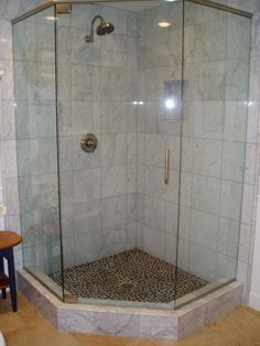 I like the corner shower stall but it would need to be larger to fit two benches and two shower heads in there :-)