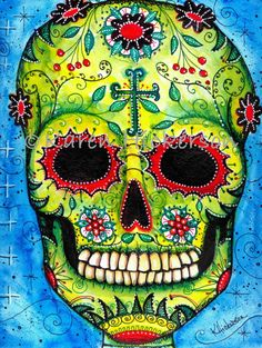 Dia de los Muertos FOLK ART PRINT Sugar Skull by Karen Hickerson ~ BohemianBabeArt, $18.00