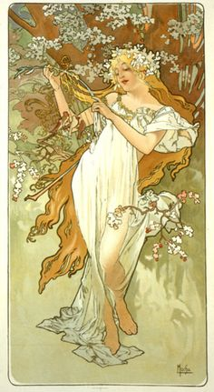 Number 8 - The natural grace and serenity of Alphons Mucha's painted women is always a good starting point for inspiration. #modcloth #wedding