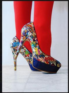 Fashion DIY – Make Your Own Comic Book Shoes – DIY & Crafts While I cannot condone cutting up perfectly good comic books . this idea is still pretty neat-o. Comic shoes are hot!