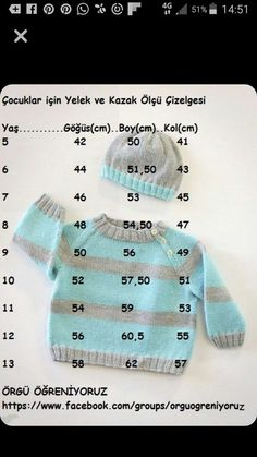 "Diy Crafts - ""cocuklar icin yelek ve kazak olcu cizelgesi baby kids junior crochet knitting vest and sweater diagram - PIPicStats"", "" Enter Knitting For Kids, Crochet For Kids, Baby Knitting Patterns, Knitting Stitches, Baby Patterns, Knit Crochet, Cardigan Bebe, Knitted Baby Cardigan, Baby Vest"