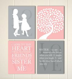 Sisters wall art siblings art girls wall art shared bedroom wall art childrens poster kids wall art set of 4  sc 1 st  Pinterest & 26 best Siblings Sisters wall art Brothers wall art images on ...