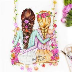 Jd_tech_art drawings for best friends, drawings of girls, bff drawings, . Best Friend Drawings, Girly Drawings, Art Drawings Sketches, Cool Drawings, Drawing Faces, Art Illustrations, Drawing Of Best Friends, Illustration Girl, Tech Art