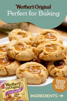 Say hello to the sweet treat that'll never do you wrong. Soft Caramel Almond Cookies, oh my.   Cookie Desserts, Easy Desserts, Cookie Recipes, Delicious Desserts, Yummy Food, Dessert Recipes, Bar Recipes, Cupcakes, Cupcake Cookies