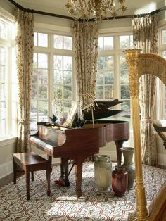 Piano... A perfect place to seat and watch my hubby play his music as I learn to play the harp. In love! So fancy and Artistic. #themarinos