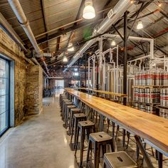 Lake Monster's new spread in a vintage warehouse exchange building includes a taproom with 12 taps, an outdoor patio, a private event space for up Brewery Design, Pub Design, Warehouse Bar, Brewery Interior, Brewery Restaurant, Brew Bar, Beer Store, Tap Room, Ducati 1100